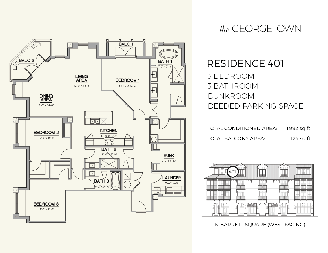 Residence 401 at The Georgetown in Rosemary Beach